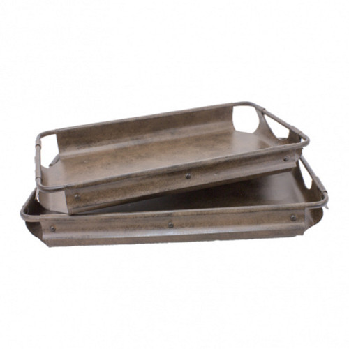 """Set of 2 Brown Rustic Trays 18"""" - IMAGE 1"""