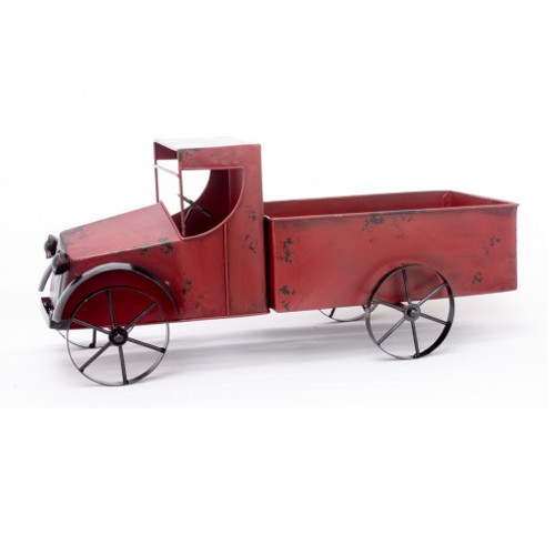 """18.5"""" Red Metal Decorative Table Topper Truck - IMAGE 1"""