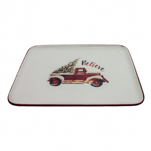 """12"""" White and Red Rectangular Plate with Truck Design - IMAGE 1"""
