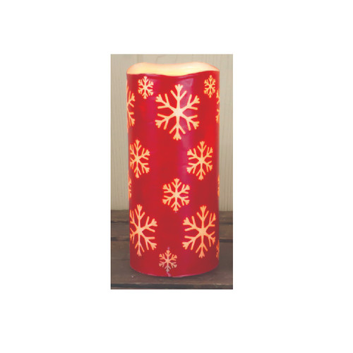 """6.75"""" Red Snowflake Battery Operated Print LED Christmas Pillar Candle with Timer - IMAGE 1"""