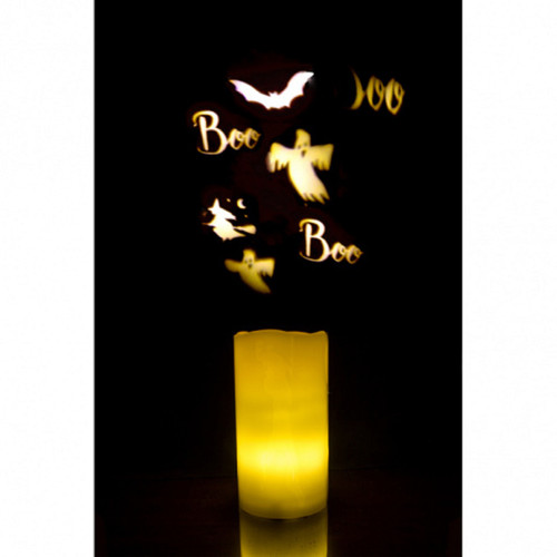 """6"""" Black and Yellow Halloween Ghost Projection Candle - IMAGE 1"""