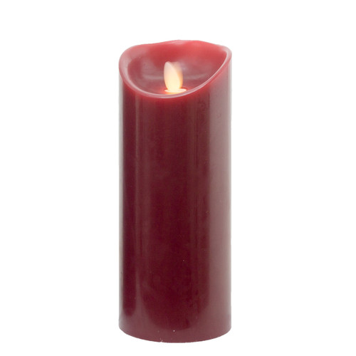 """8.75"""" Burgundy Essence Glow Battery Operated LED Flicker Flameless Pillar Candle - IMAGE 1"""