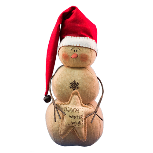 """18"""" Beige Lovely Warm Winter Wishes Snowman with Red Top Hat - IMAGE 1"""