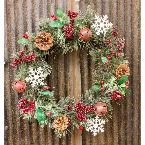 """15"""" Red White and Green Jingle Bell Wreath - IMAGE 1"""