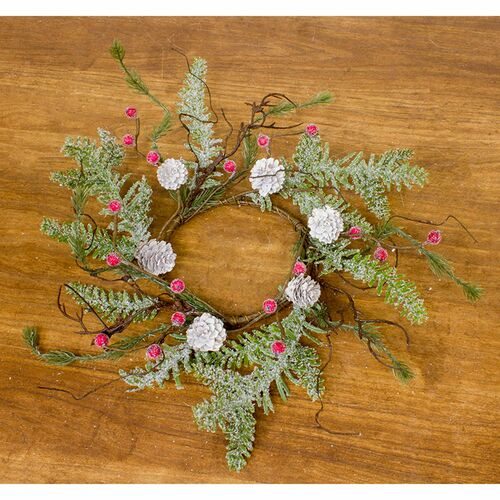 Set of 4 Frosty Red Berry and Green Pine Cone Candle Ring - IMAGE 1
