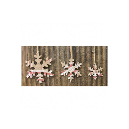"""Set of 3 Red and White Check Snowflake Christmas Hanging Ornaments 10"""" - IMAGE 1"""