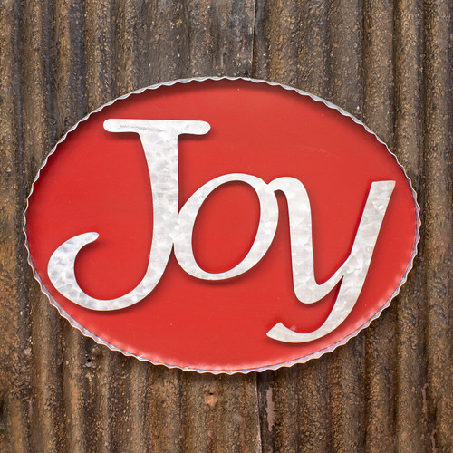 """8"""" Red and White Joy Metal Sign - Small - IMAGE 1"""