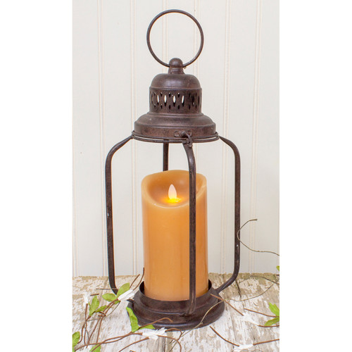 "16"" Rustic Brown Metal Pillar Candle Holder - IMAGE 1"