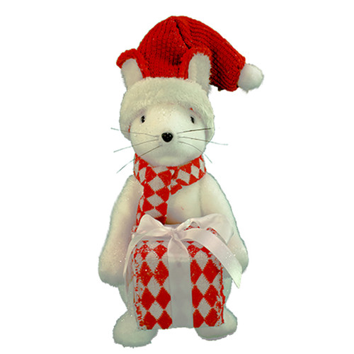 """12"""" White and Red Christmas Mouse with Gift - IMAGE 1"""