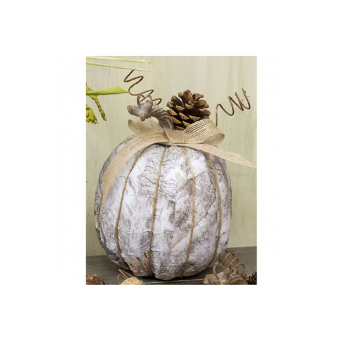 """8"""" Large Distressed White Artificial Pumpkin Thanksgiving Decoration - IMAGE 1"""