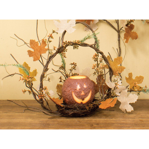 "24"" Brown and Orange Burlap Maple Basket Halloween Decoration - IMAGE 1"