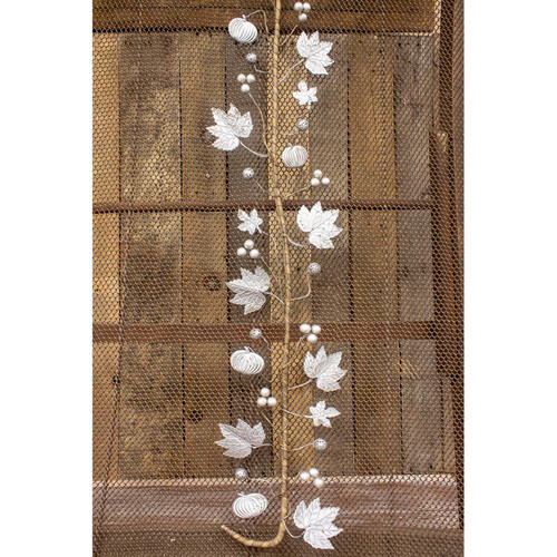 """48"""" White and Brown Galvanized Fall Garland Holiday Decoration - IMAGE 1"""