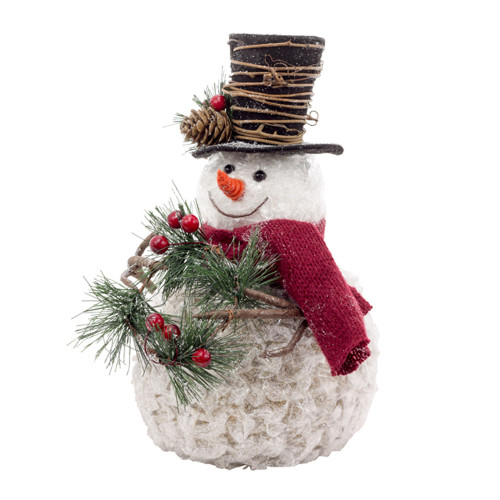 """12"""" Red and White Crackle Snowman with Pine - IMAGE 1"""