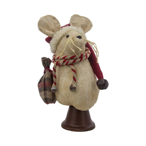 """9.5"""" White and Red Mouse Bell Christmas Decoration - IMAGE 1"""
