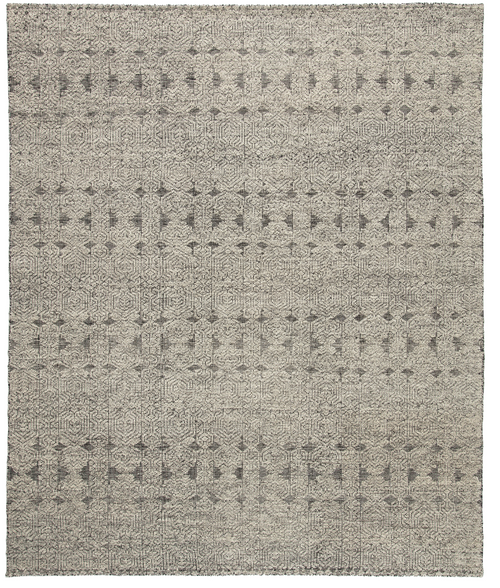 9' X 13' Gray and Black Hand-Knotted Tribal Indoor Area Rug - IMAGE 1