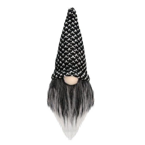 "5"" Dark Gray and White Santa Gnome with Tweed Hat Tabletop Christmas Decoration - IMAGE 1"