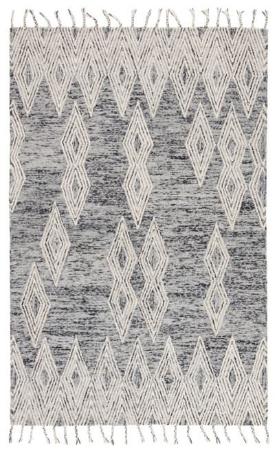 9' x 12' Ivory and Blue Geometric Hand Woven Wool Area Throw Rug - IMAGE 1