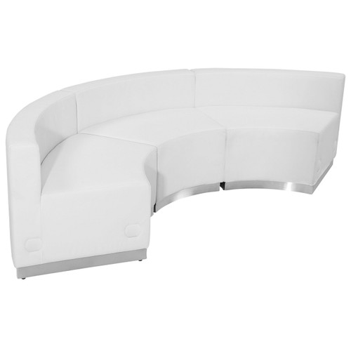 "Set of 3 White Leather Reception Configuration Chair 97"" - IMAGE 1"