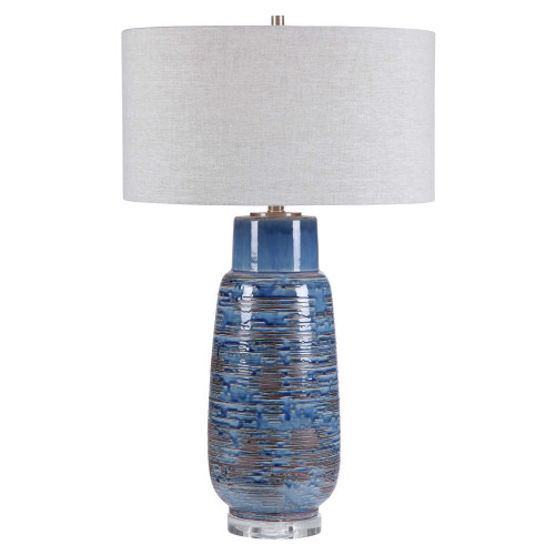"32"" Contemporary Table Lamp with Gray Round Hardback Shade - IMAGE 1"