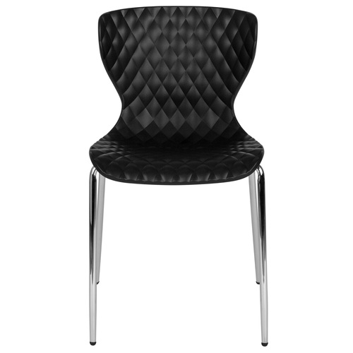 """31"""" Black Contemporary Stack Chair with Curved Back - IMAGE 1"""