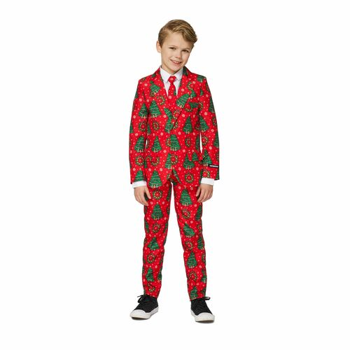 Red and Green Christmas Trees Printed Boy Child Suit - Large - IMAGE 1