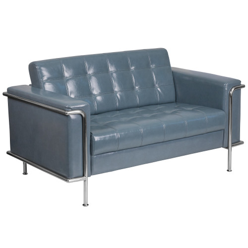 """59"""" Grey Leather - Tufted Loveseat with Encasing Frame - IMAGE 1"""