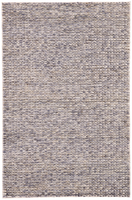 9' x 12' Gray and Blue Solid Hand Loomed Rectangular Area Throw Rug - IMAGE 1