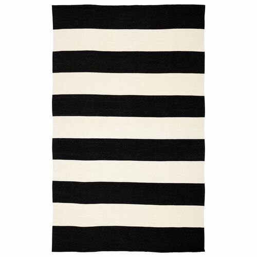 8.8' x 11.7' Black and Ivory Striped Rectangular Outdoor Area Throw Rug - IMAGE 1