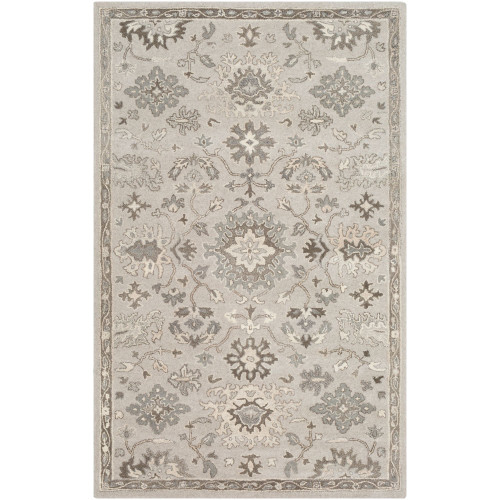 7.5' x 9.5' Floral Gray and Brown Rectangular Area Throw Rug - IMAGE 1