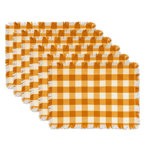 """Set of 6 Mustard Yellow and White Heavyweight Check Fringed Placemats 19"""" - IMAGE 1"""