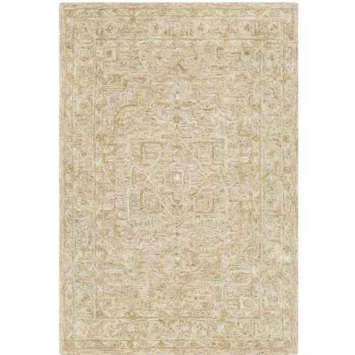 7' x 9' Persian Medallion Design Brown and Beige Rectangular Hand Tufted Area Rug - IMAGE 1