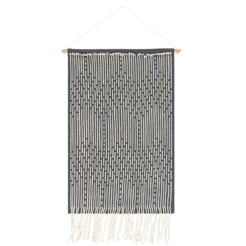 """36"""" x 24"""" Black and Cream White Contemporary Wall Hanging - IMAGE 1"""