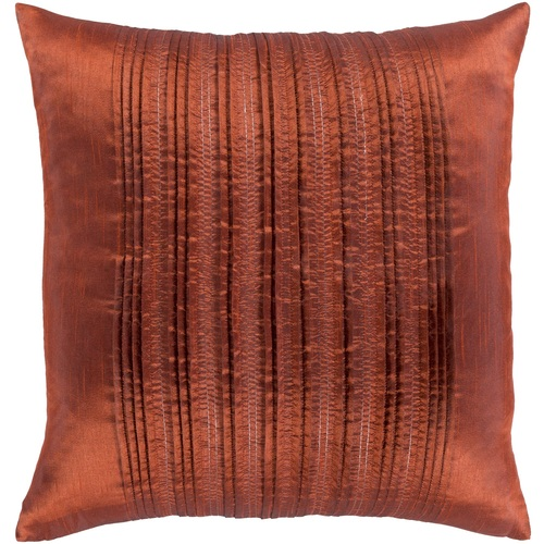"""20"""" Orange Pleated Design Square Woven Throw Pillow Cover with Knife Edge - IMAGE 1"""