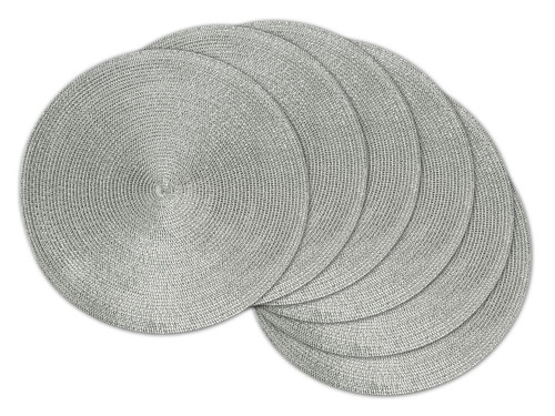 """Set of 6 Metallic Silver Colored Double Frame Pattern Round Placemats 14.75"""" - IMAGE 1"""
