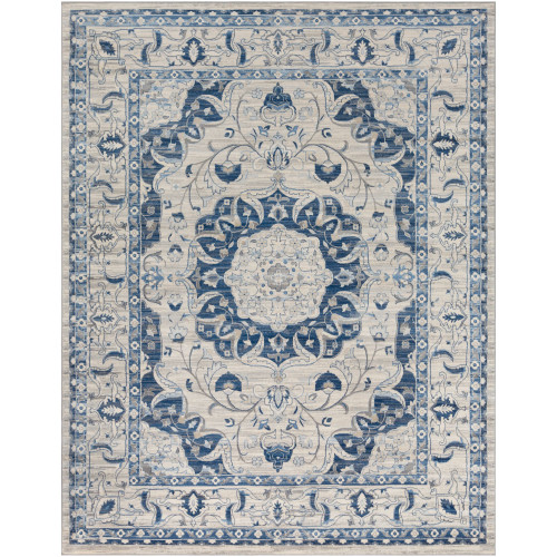 6.5' x 9.5' Floral Beige and Blue Rectangular Area Throw Rug - IMAGE 1