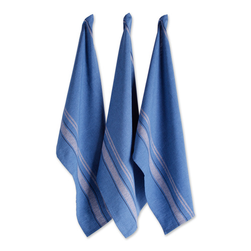"Set of 3 Blue Chambray French Stripe Dishtowels 30"" x 20"" - IMAGE 1"