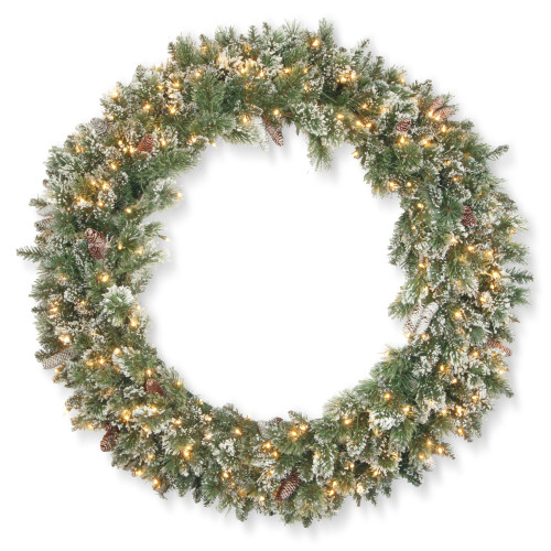 Pre-Lit Glittery Bristle Pine Artificial Christmas Wreath - 48-Inch, Clear Lights - IMAGE 1