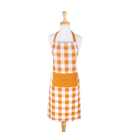 "32"" Yellow and White Checkered Adjustable Heavyweight Fringe Chef Apron with Pocket - IMAGE 1"