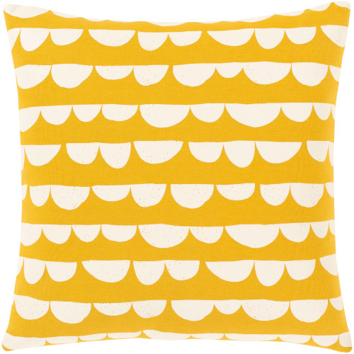 """18"""" Yellow and White Screen Printed Square Throw Pillow - Down Filler - IMAGE 1"""