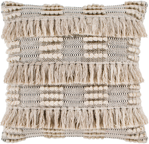 """18"""" Beige and Black Handwoven Throw Pillow- Down Filler - IMAGE 1"""
