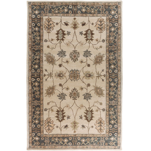 "7'6"" x 9'6"" Floral Pattern Beige and Brown Rectangular Area Rug - IMAGE 1"