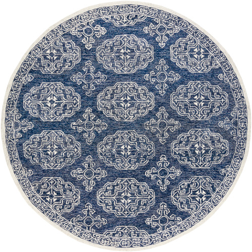 8' Medieval Pattern Blue and Beige Round Hand Tufted Wool Area Throw Rug - IMAGE 1