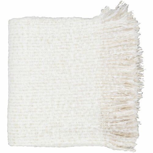 """White and Beige Rectangular Throw Blanket with Tassels 50"""" x 60"""" - IMAGE 1"""