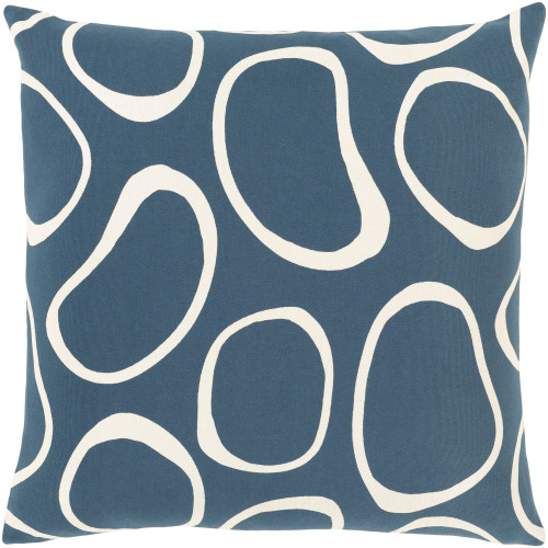 """18"""" Teal and Snow White Screen Printed Square Throw Pillow - Poly Filled - IMAGE 1"""