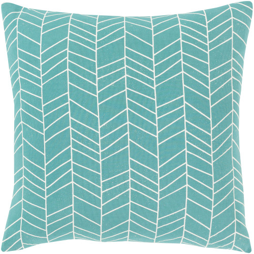 """18"""" Green and White Screen Printed Square Throw Pillow - Poly Filled - IMAGE 1"""