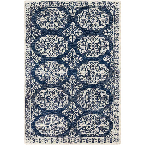 8' x 10' Medieval Blue and Beige Rectangular Hand Tufted Wool Area Throw Rug - IMAGE 1