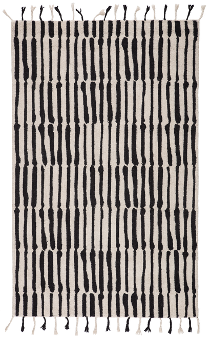 9' x 12' Ivory and Black Tribal Hand Woven Wool Area Throw Rug - IMAGE 1