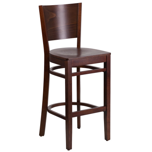 """43.50"""" Brown Lacey Solid Back Walnut Wood Restaurant Bar-stool - IMAGE 1"""