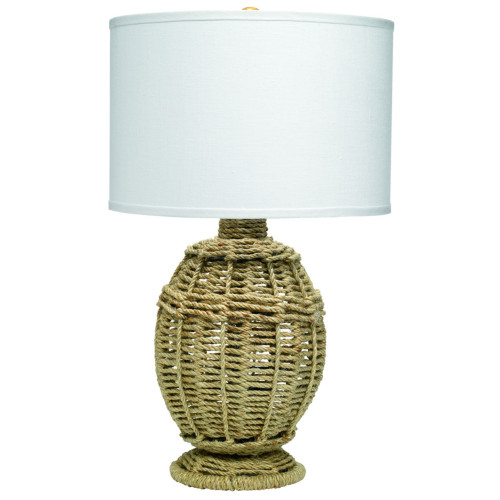 """25.50"""" Beige Jute Urn Table Lamp with White Linen Shade - IMAGE 1"""