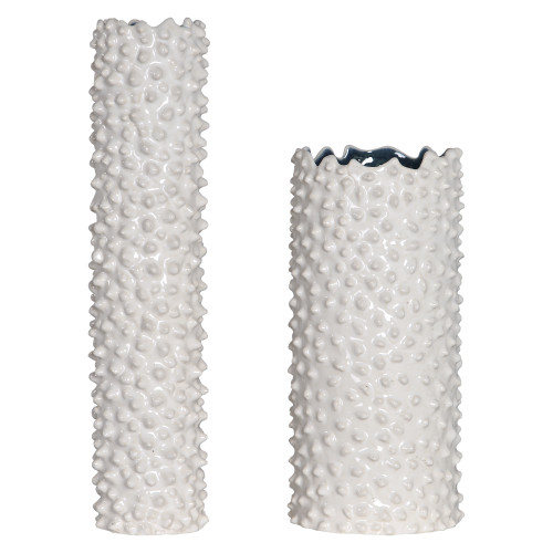 """Set of 2 White and Blue Textured Vases 18"""" - IMAGE 1"""